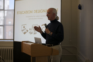 Professor Woodie Flowers giving the opening talk at the Education Designathon