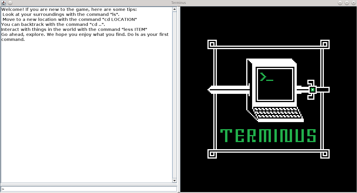 Screenshot of the opening page of Terminus, the first Java version