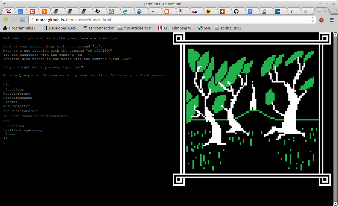 A screenshot of Terminus, the Javascript version