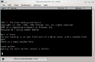 Screenshot of Zork being played on a Linux machine